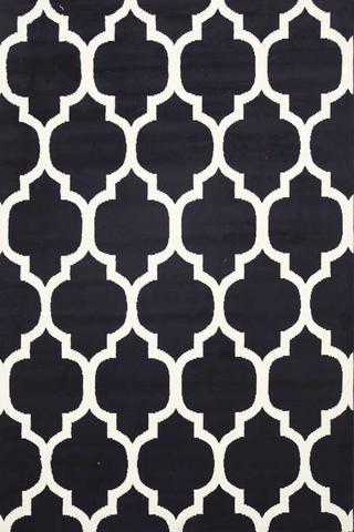 Super Black And White Diamond Pattern Rug Il54