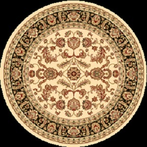 Cream Black Traditional Circular Rug