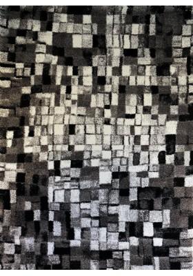 Grey white black rug
